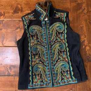 Bob Mackie Embroidered Faux Fur Collar Vest